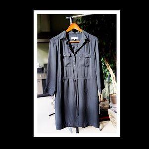 Loft Black Business Casual Front Tie Shirt Dress